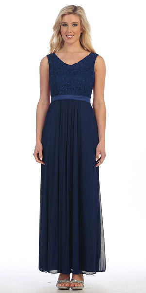Navy Blue Lace Bodice Sleeveless Long Formal Dress V-Neckline