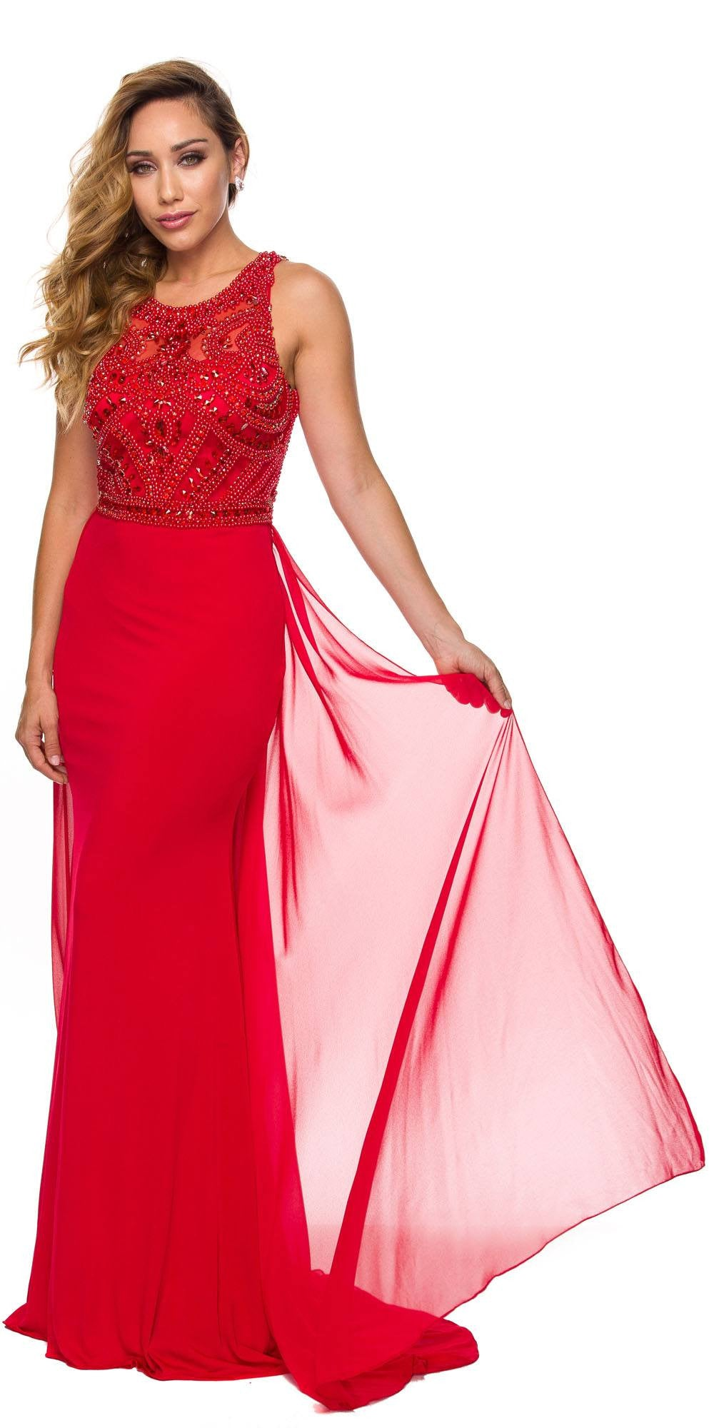 Juliet 628 Embellished Bodice Fit and Flare Prom Gown with Train Red ...