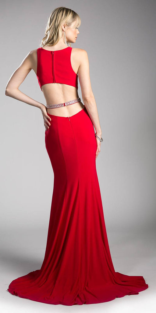 Cinderella Divine 62806 Beaded Waist Cut Out Back Long Prom Dress Red Back View