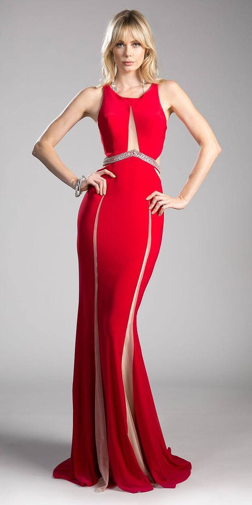 Cinderella Divine 62806 Beaded Waist Cut Out Back Long Prom Dress Red