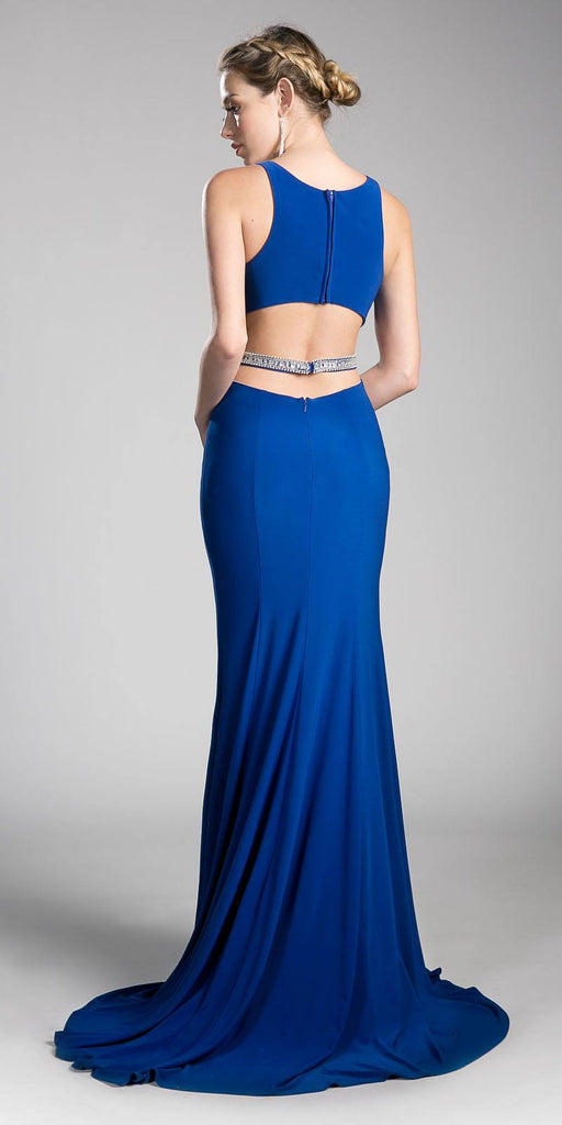 Cinderella Divine 62806 Beaded Waist Cut Out Back Long Prom Dress Royal Blue Back View