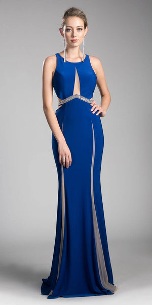 Cinderella Divine 62806 Beaded Waist Cut Out Back Long Prom Dress Royal Blue