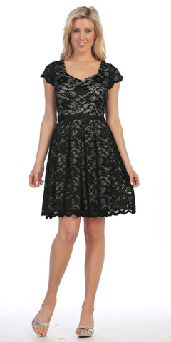 Knee Length Lace Short Sleeve Dress Black/Taupe With Ribbon Bow