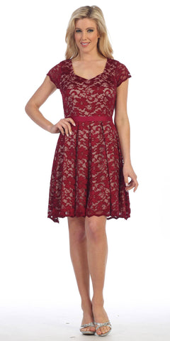Knee Length Lace Short Sleeve Dress Burgundy/Taupe With Ribbon Bow