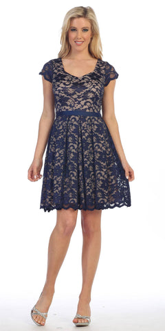 Knee Length Lace Short Sleeve Dress Navy/Taupe With Ribbon Bow