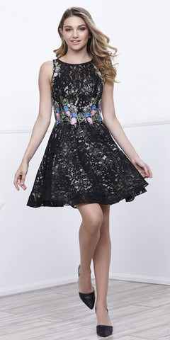 Lace A-line Homecoming Short Dress Embroidered Waist Black Gold