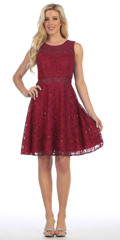 Knee Length Lace Dress Burgundy Sleeveless Mesh See Through Waist