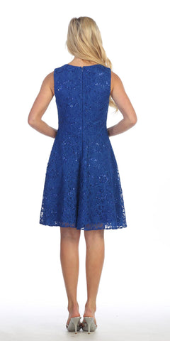 Knee Length Lace Dress Royal Blue Sleeveless Mesh See Through Waist