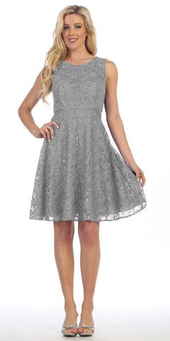 Knee Length Lace Dress Silver Sleeveless Mesh See Through Waist
