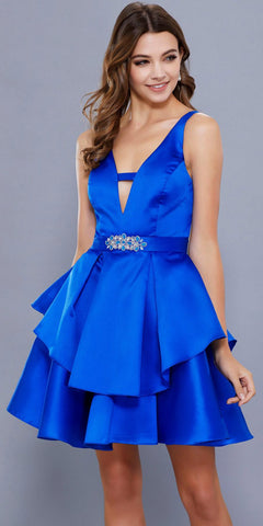 Royal Blue Plunging V-Neck Short Homecoming Dress Open Back