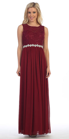 Celavie 6284 Burgundy Sleeveless Appliqued Waist Long Formal Dress A-Line
