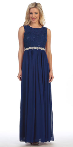 Celavie 6284 Navy Sleeveless Appliqued Waist Long Formal Dress A-Line