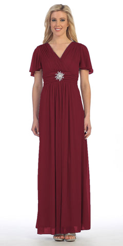 Long V Neck Semi Formal Dress Burgundy Chiffon Matt Jersey Short Sleeve