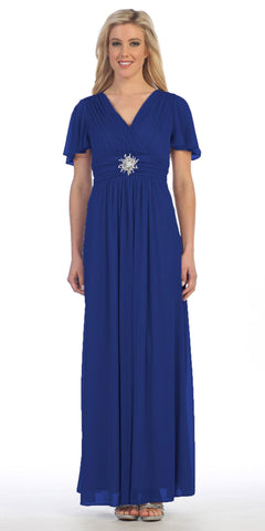 Long V Neck Semi Formal Dress Royal Blue Chiffon Matt Jersey Short Sleeve
