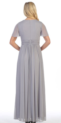 Long V Neck Semi Formal Dress Silver Chiffon Matt Jersey Short Sleeve