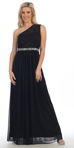 Celavie 6288 One Shoulder Rhinestones Waist Long Formal Dress Black