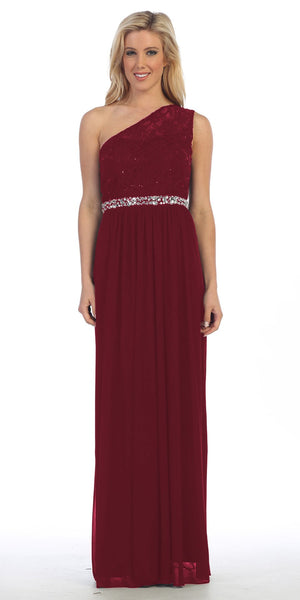 Celavie 6288 One Shoulder Rhinestones Waist Long Formal Dress Burgundy