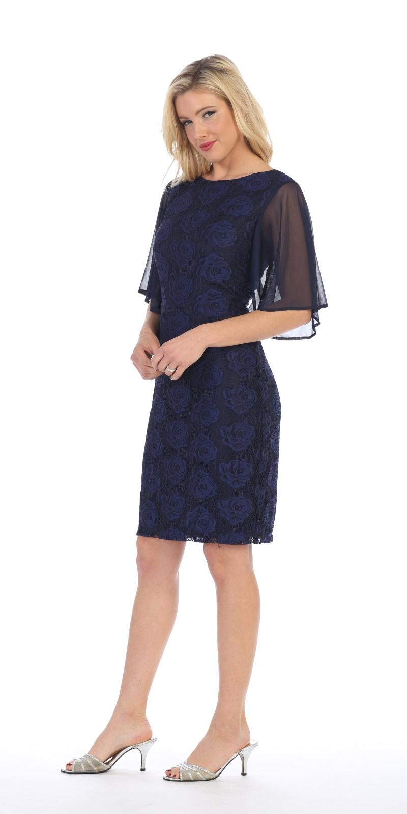 Celavie 6289 Sheer Flutter Sleeves Wedding Guest Dress Navy Blue