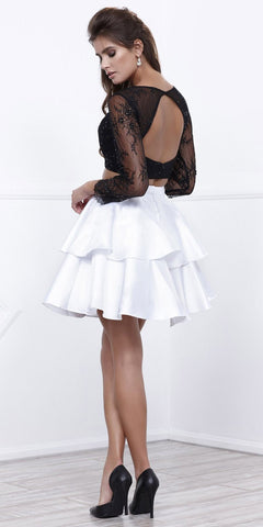 Black Top White Skirt Two-Piece Homecoming Dress Long Sleeves