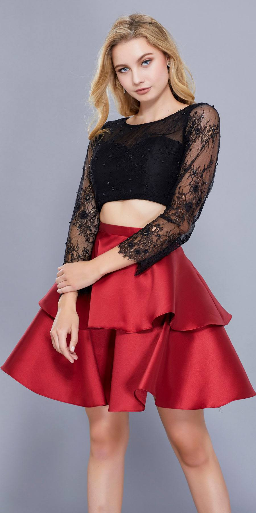 Red dresses homecoming with sleeves catalog photo