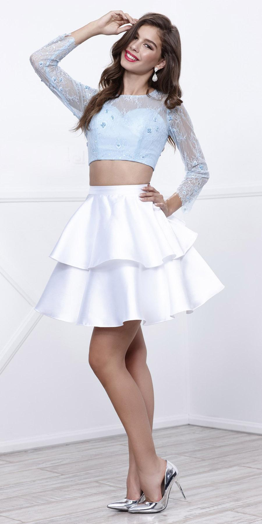 e5532a661 ... Ice Blue Top White Skirt Two-Piece Homecoming Dress Long Sleeves ...