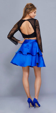 Black Top Royal Blue Skirt Two-Piece Homecoming Dress Long Sleeves