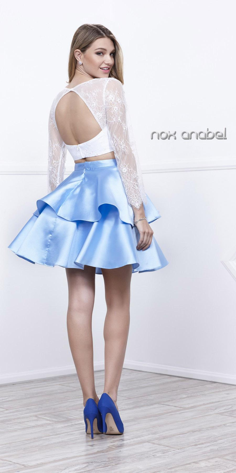 blue top white skirt two homecoming dress