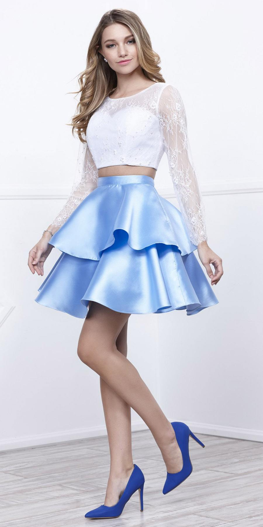 0d3aece1f White Top Ice Blue Skirt Two-Piece Homecoming Dress Long Sleeves. Tap to  expand