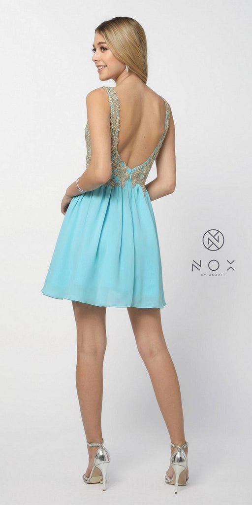 Aqua Blue Bead Applique Bodice Short Cocktail Dress U-Shape Back