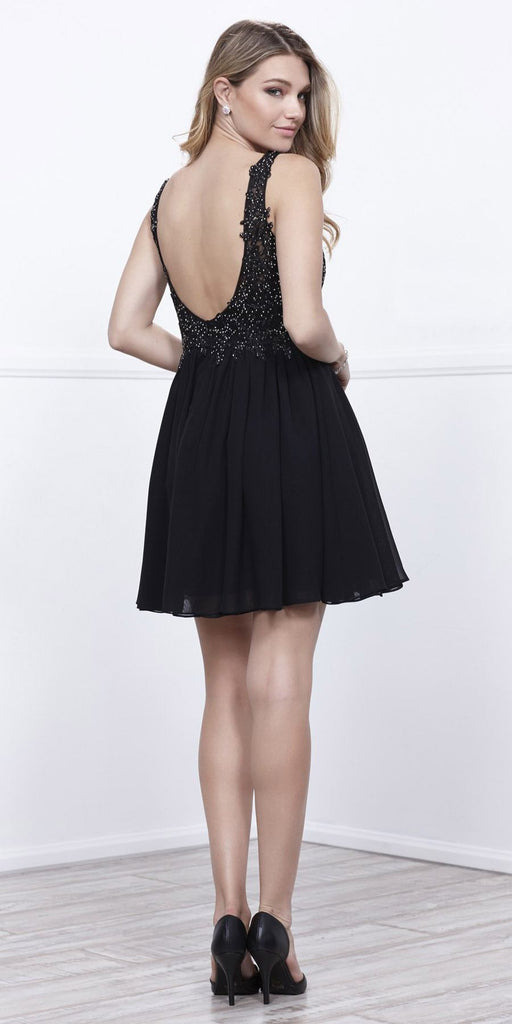 Black Bead Applique Bodice Short Cocktail Dress Low Back