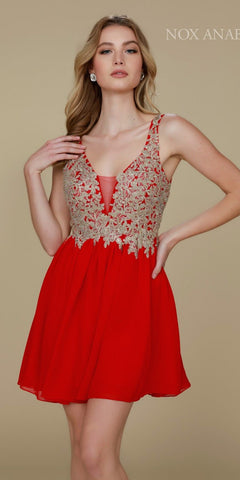 Red Bead Applique Bodice Short Cocktail Dress Low Back