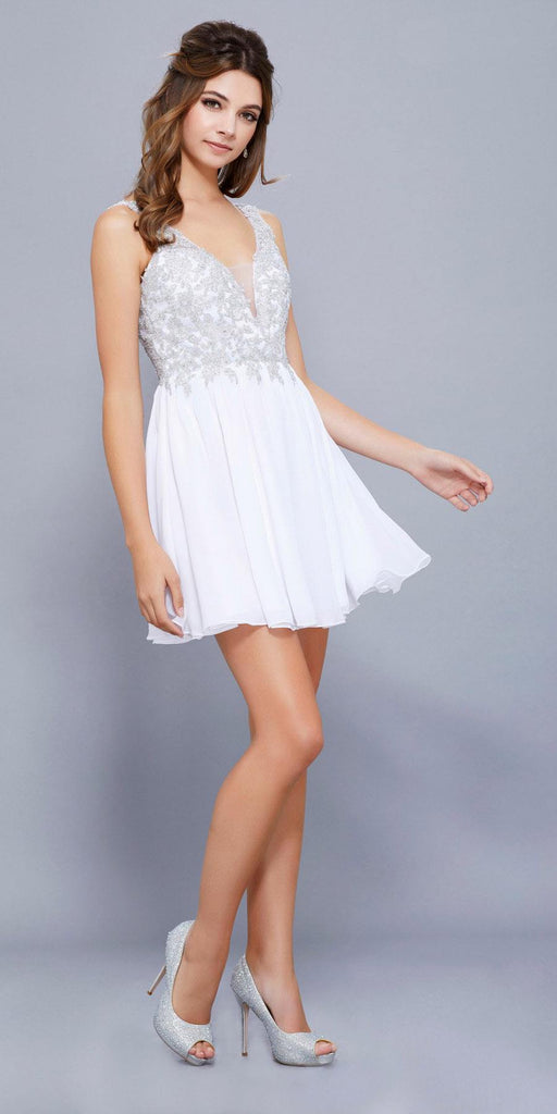 White Bead Applique Bodice Short Cocktail Dress Low Back