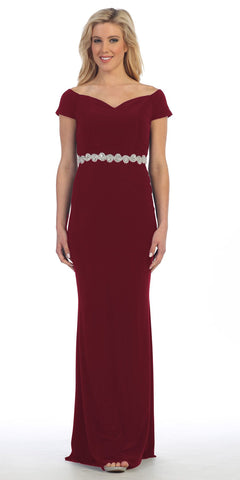 Celavie 6292 Burgundy Off Shoulder Evening Gown Appliqued Waist