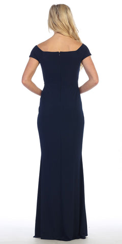 Celavie 6292 Navy Off Shoulder Evening Gown Appliqued Waist