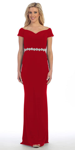 Celavie 6292 Red Off Shoulder Evening Gown Appliqued Waist
