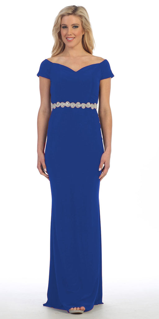 Celavie 6292 Royal Blue Off Shoulder Evening Gown Appliqued Waist