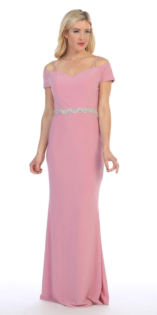Celavie 6292 Mauve Off Shoulder Evening Gown Appliqued Waist