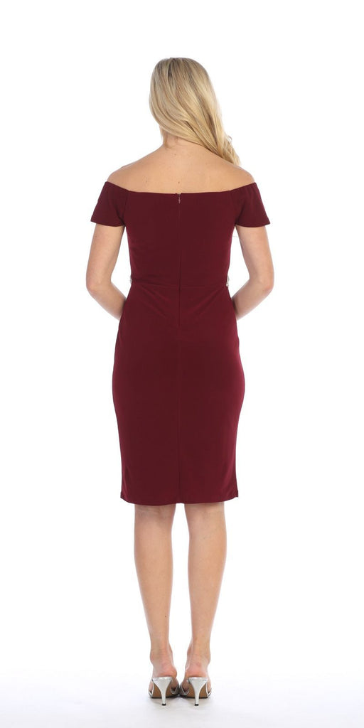 Celavie 6292s Burgundy Knee Length Party Dress with Cold Shoulder Sleeves Back View
