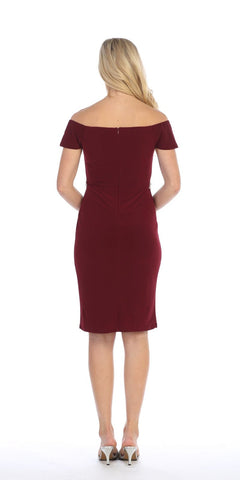 Celavie 6292s Cold Shoulder Knee Length Cocktail Dress Burgundy Back View