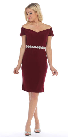 Celavie 6292s Cold Shoulder Knee Length Cocktail Dress Burgundy
