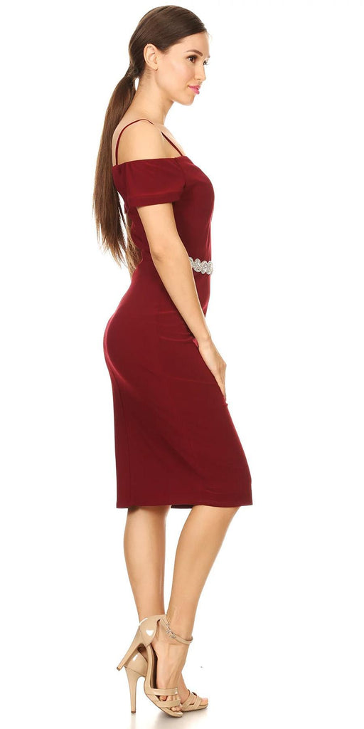 Celavie 6292s Burgundy Knee Length Party Dress with Cold Shoulder Sleeves