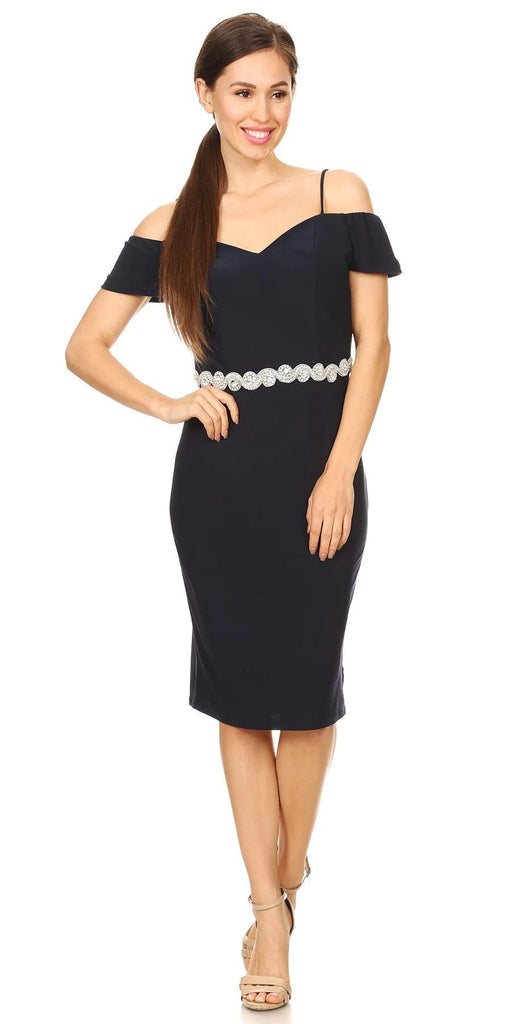 Celavie 6292s Navy Blue Knee Length Party Dress with Cold Shoulder Sleeves