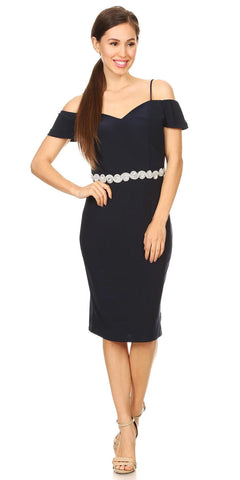 Celavie 6292s Cold Shoulder Knee Length Cocktail Dress Navy