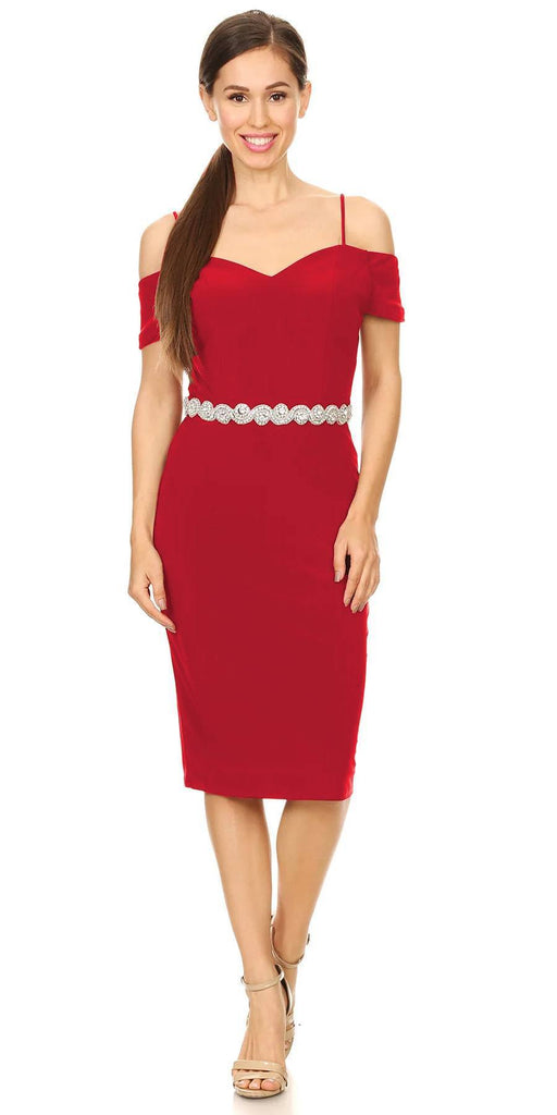 Celavie 6292s Red Knee Length Party Dress with Cold Shoulder Sleeves