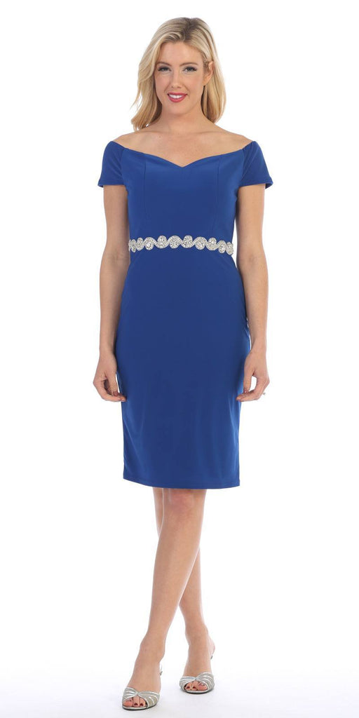 Celavie 6292s Royal Blue Knee Length Party Dress with Cold Shoulder Sleeves
