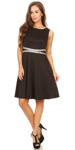 Rhinestones Waist Knee-Length Cocktail Dress Sleeveless Black