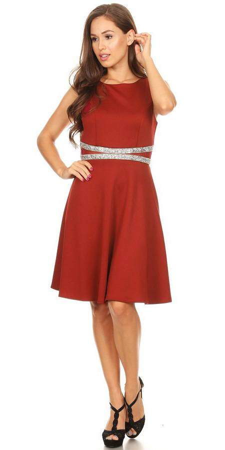 Rhinestones Waist Knee-Length Cocktail Dress Sleeveless Burgundy