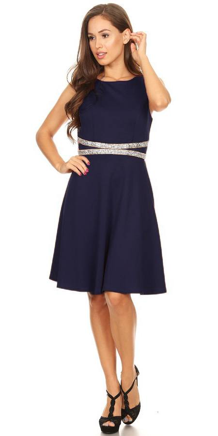 Rhinestones Waist Knee-Length Cocktail Dress Sleeveless Navy Blue