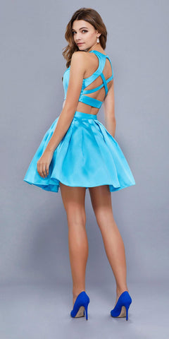 Turquoise Two-Piece Short Homecoming Dress Sleeveless with Pockets