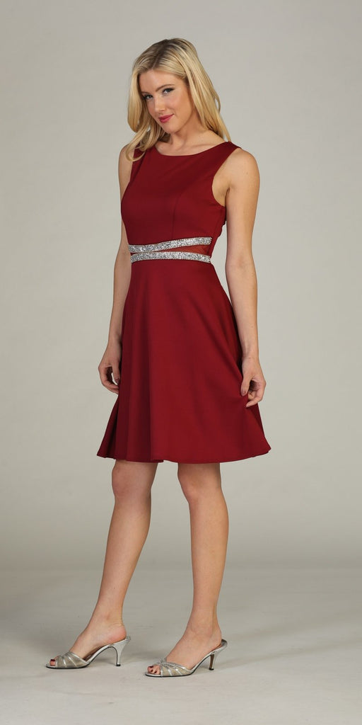 Celavie 6293 Rhinestones Waist Knee-Length Cocktail Dress Sleeveless Burgundy Side View